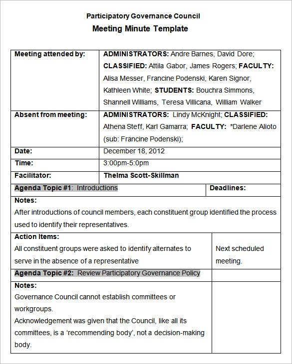 free sample meeting minutes template .
