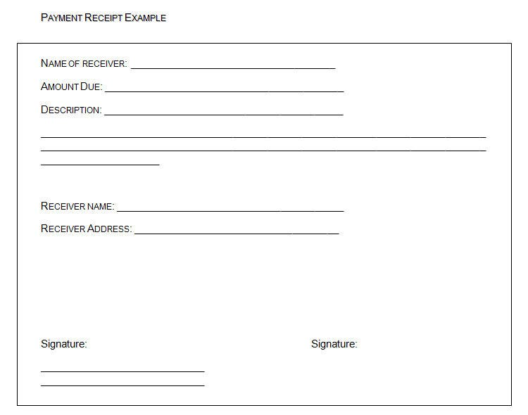 Payment Receipt Example  Free Template For Receipt Of Payment