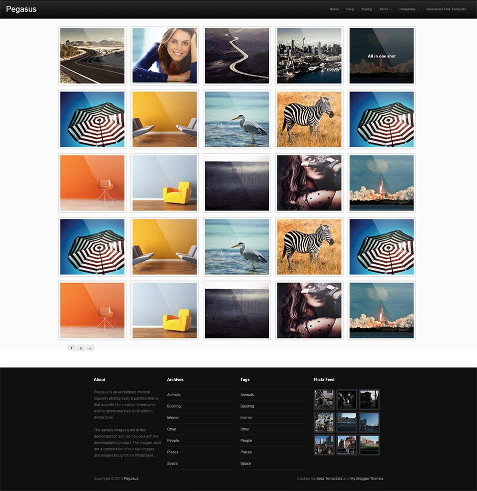 Pegasus Gallery Style Blog Templates