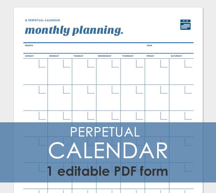 Perpetual Calendar Printable Template   Calendar Template 2016