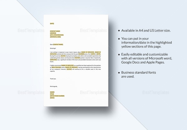 Personal Letter Of Recommendation Parent Template: 21+ Recommendation Letter Templates