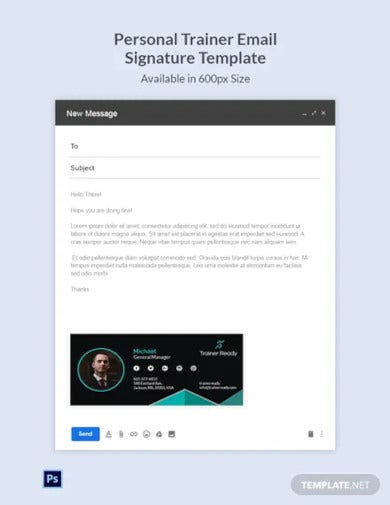 personal trainer email signature template