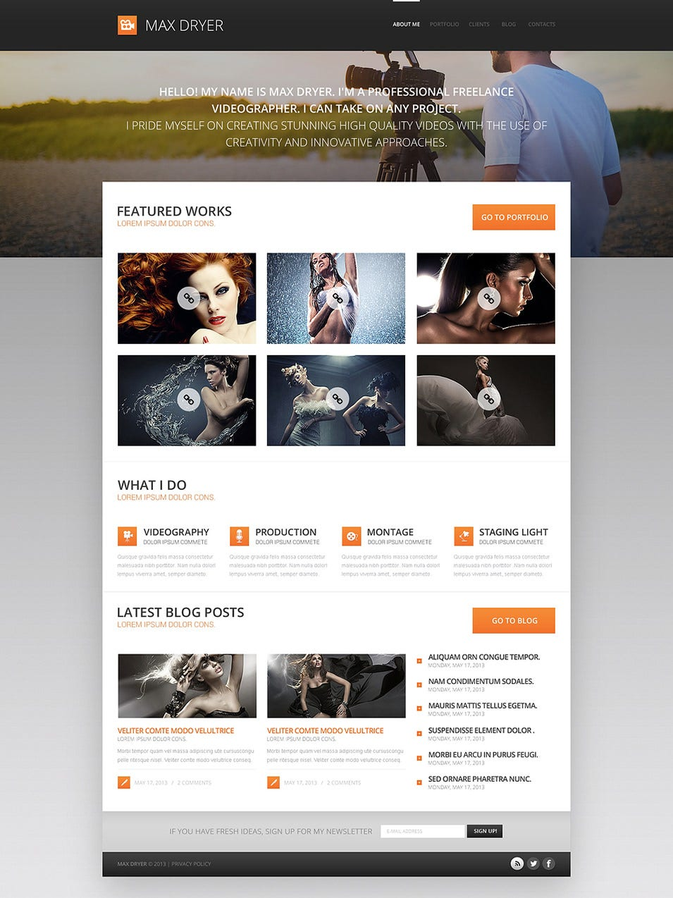 Photographer Portfolio for Profit WordPress Theme