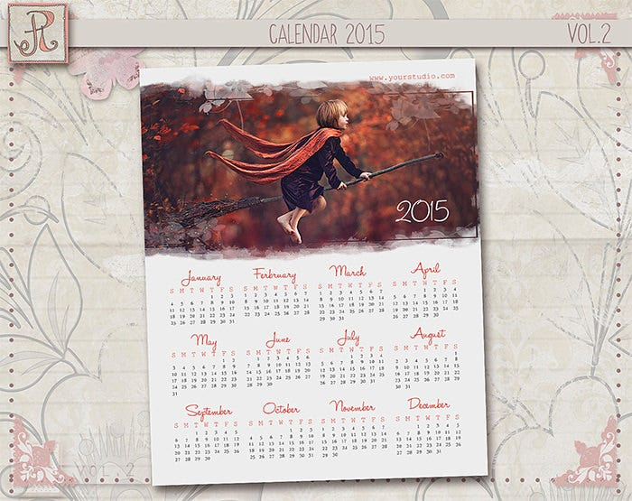 photoshop calendar template vol