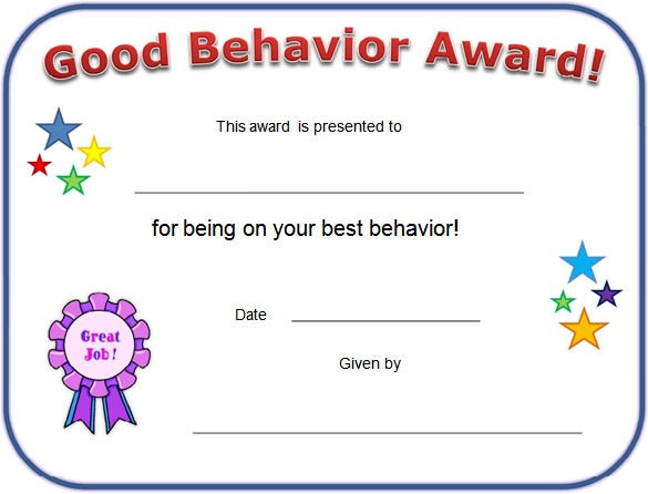 printable good behaviour certificate template