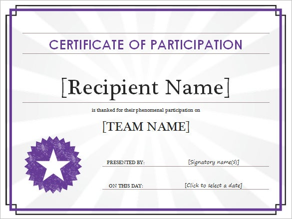 Printable Participant Certificate Template  Certificate Templates In Word