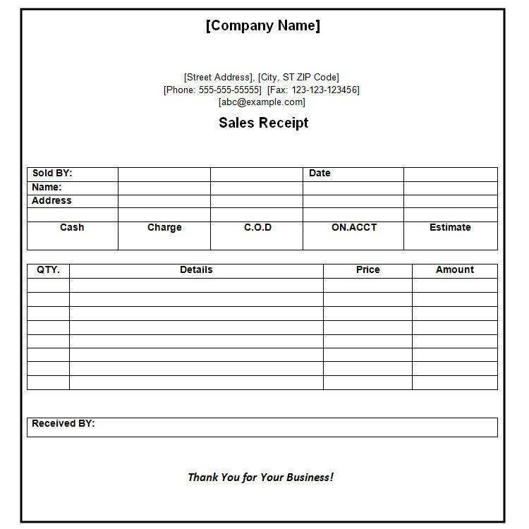 Receipt Of Payment Receipt Format  Business Receipt Template Word