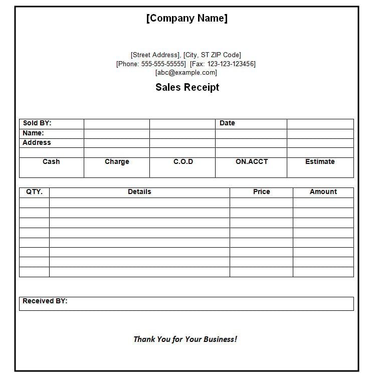 Standard Receipt Format Payment Receipt Template In Word Format – Sample Payment Receipt