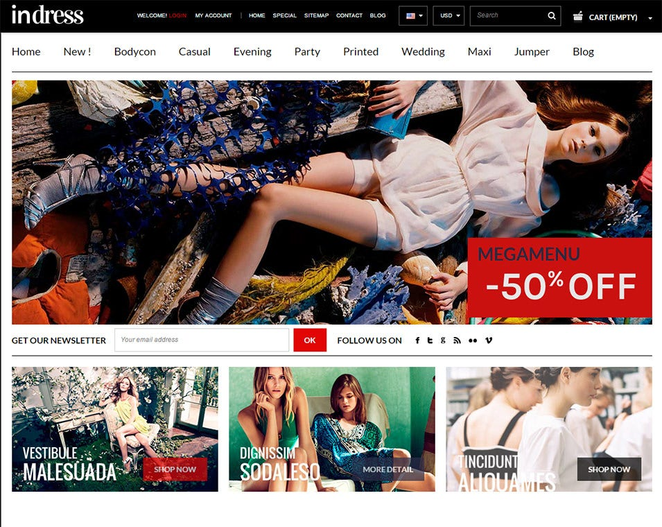responsive dress store prestashop theme