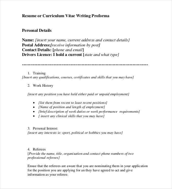 resume or curriculum vitae writing proforma format