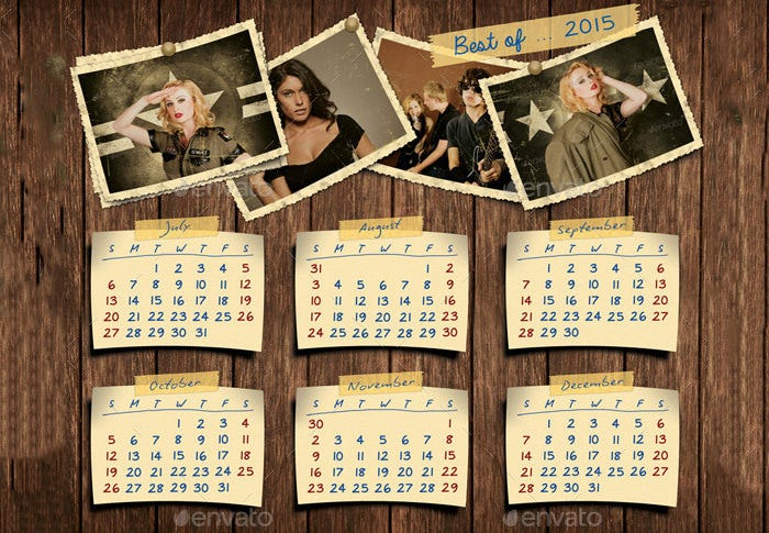 retro photos calendar template 02