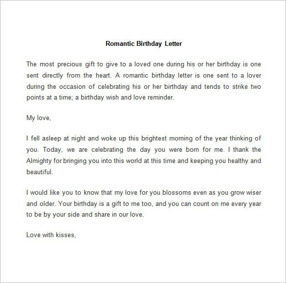 romantic birthday letter template