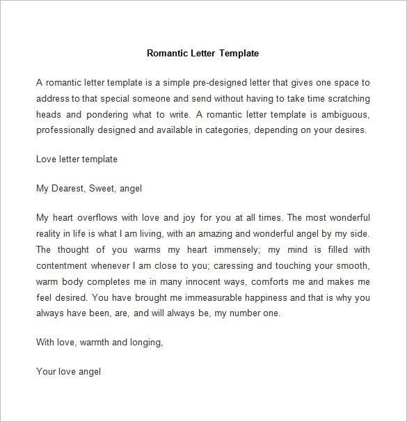 romantic letter template