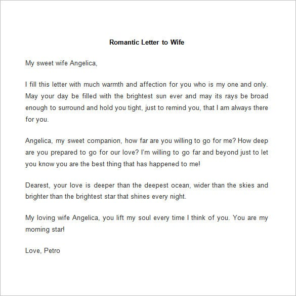 romantic love letter template to wife