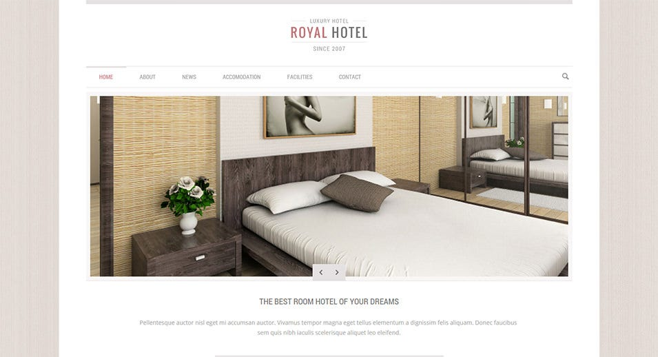 Royal hotel wordpress theme