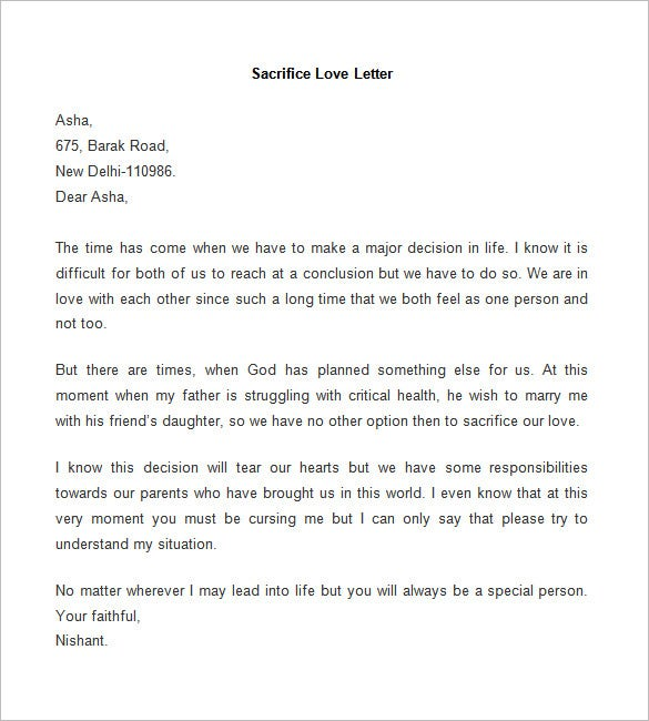 sacrifice love letter template