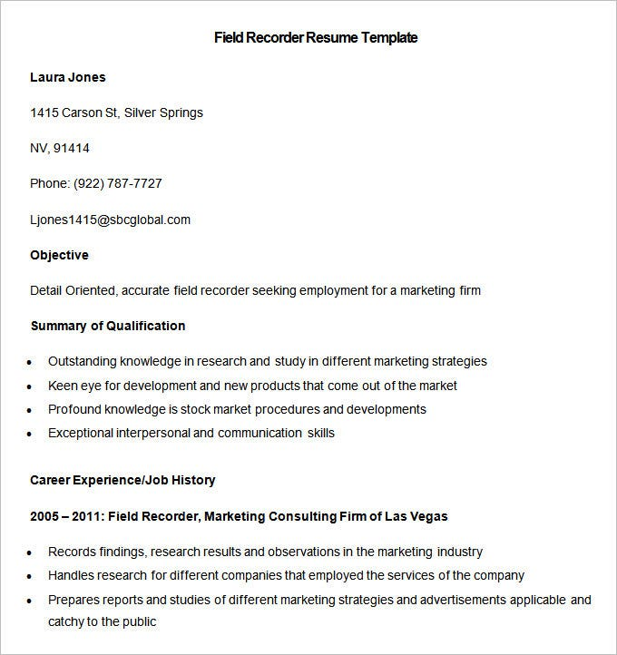 sampel field recorder resume template download