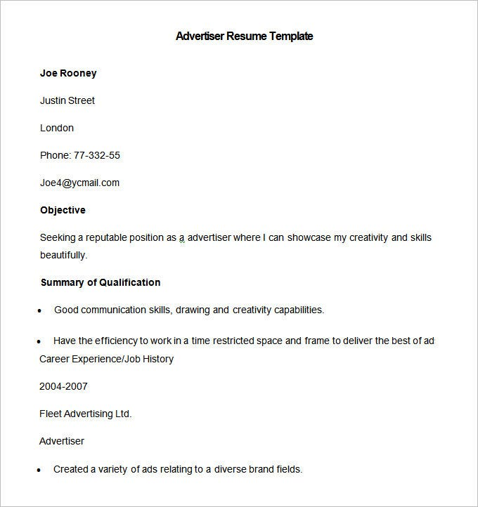 sampl advertiser resume template free download