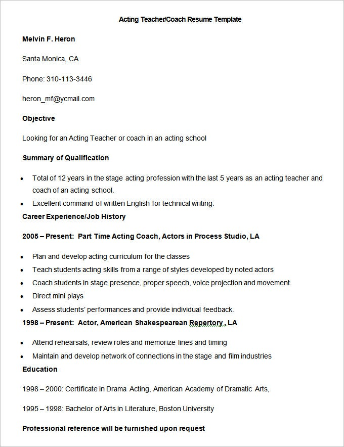 51 Teacher Resume Templates Free Sample Example Format – Sample Coaching Resume