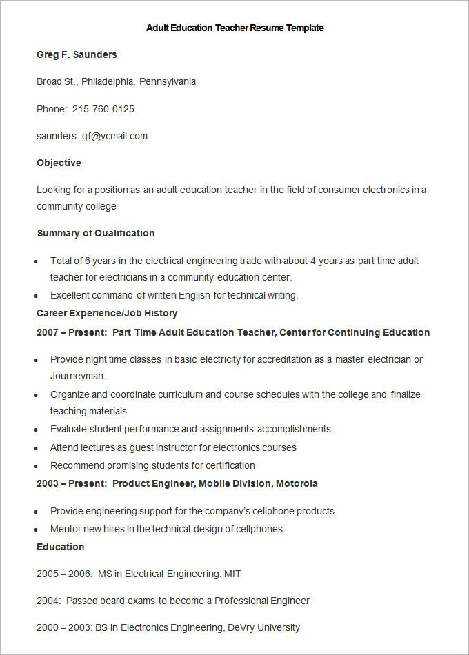 this free download adult education teacher resume template features everything you need to mention in a standard template such as objectives qualification