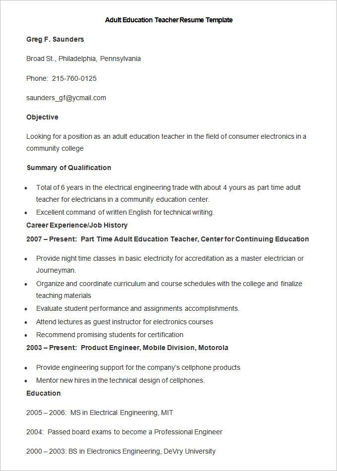 teacher resume templates 43 free samples examples