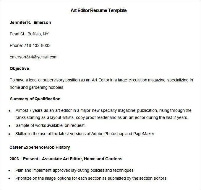 sample art editor resume template download