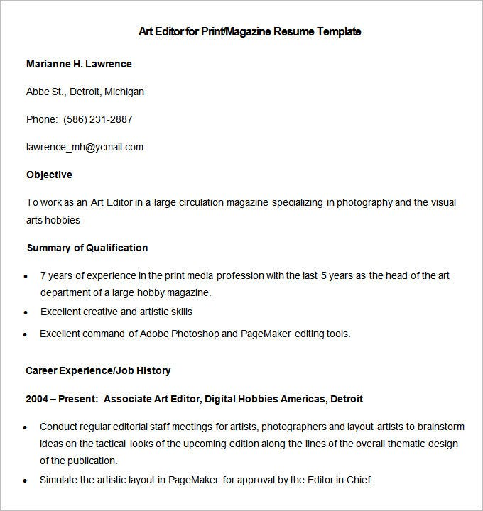 sample art editor for print magazine resume template download
