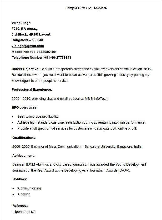 bpo sample resume - Hobbies In Resume For Freshers