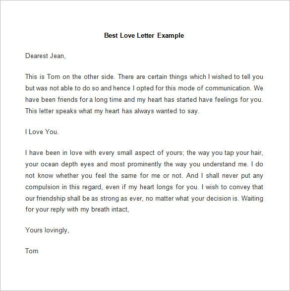 sample best love letter example