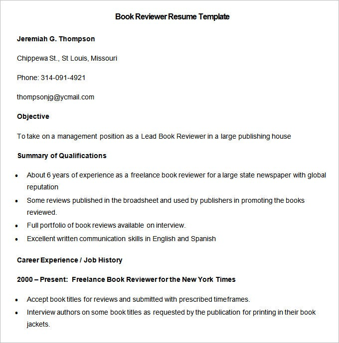 sample book reviewer resume template