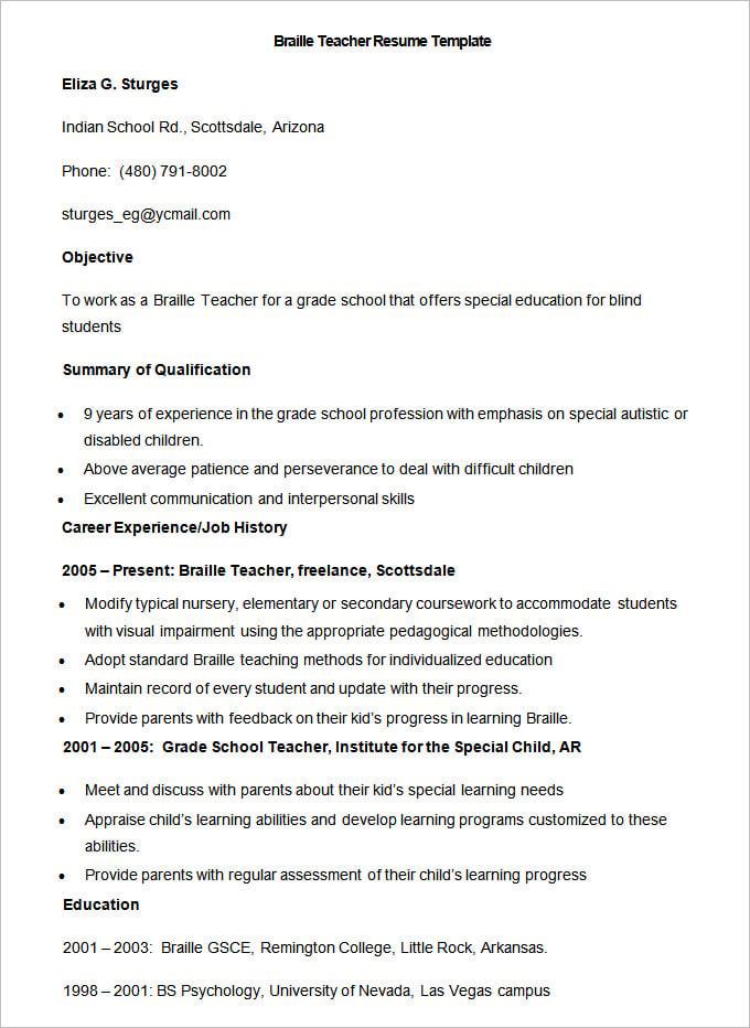 Resume Format For Teacher Job In Word File