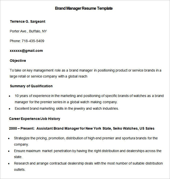 Sample Brand Manager Resume Template