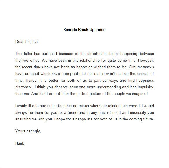 sample break up letter template