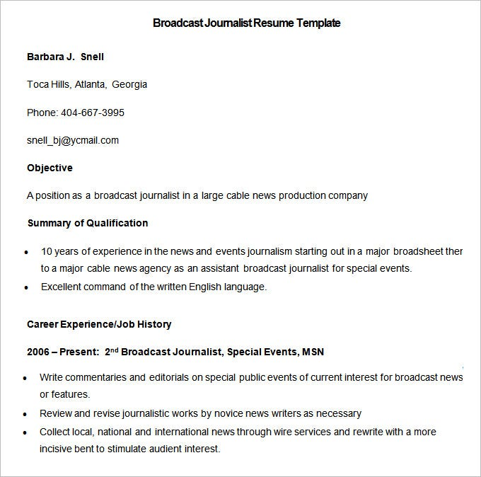 Sample Broadcast Journalist Resume Template