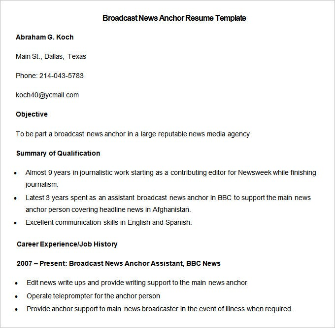 sample broadcast news anchor resume template download