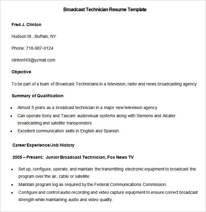 sample broadcast technician resume template download