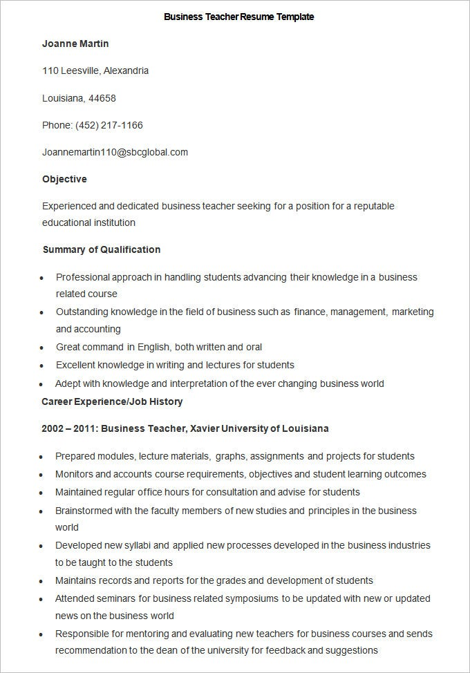 This Business Teacher Resume Sample Which Is Available As Free Download  Features The Requirements For A Business Teacher. This Template Is In MS  Word Format ...