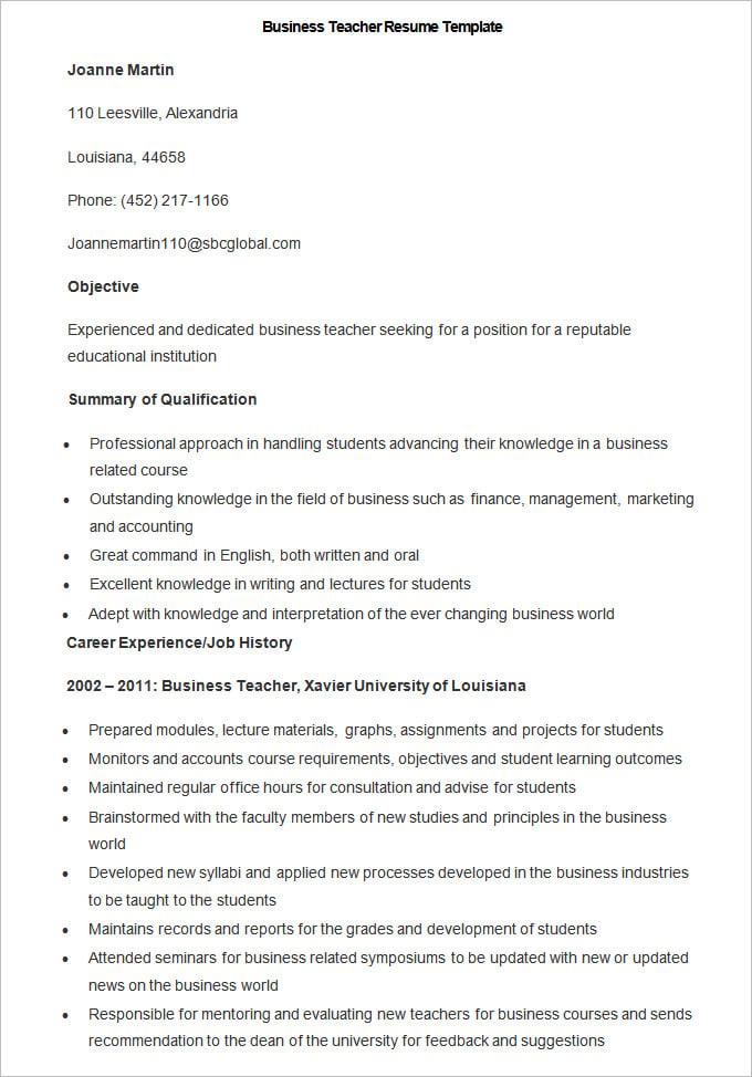 Teacher resume template word