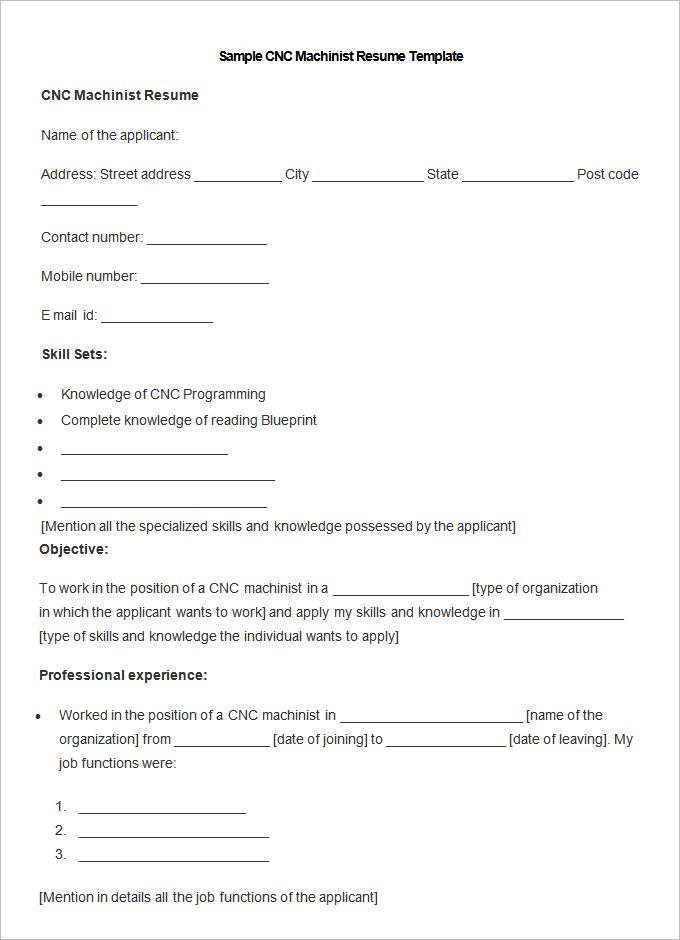 cnc machinist sample resumes