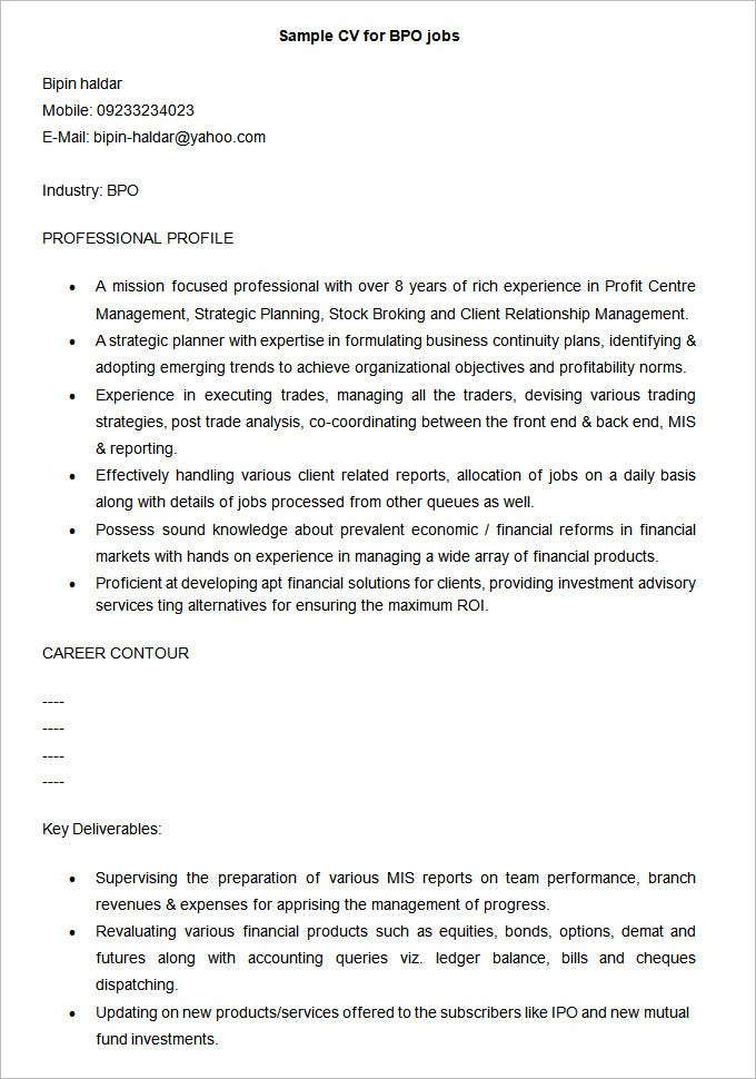 sample cv for bpo jobs free download - Free Professional Resume Templates