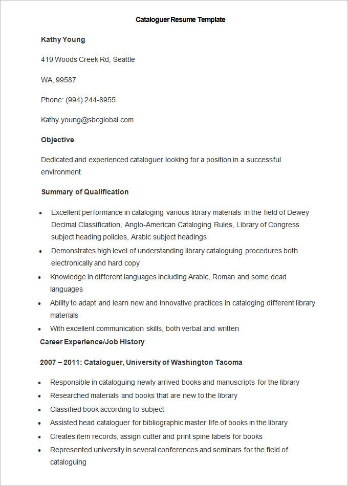 Sample Cataloguer Resume Template  Soft Copy Of Resume