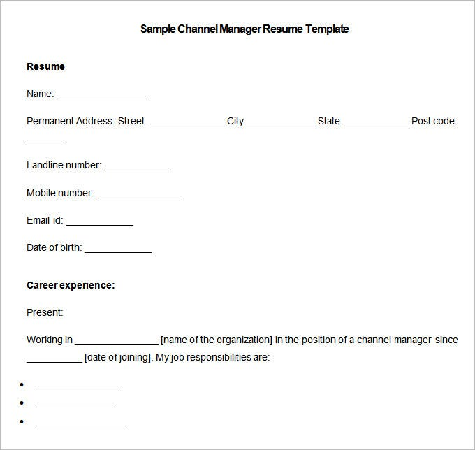 sample channel manager resume template download