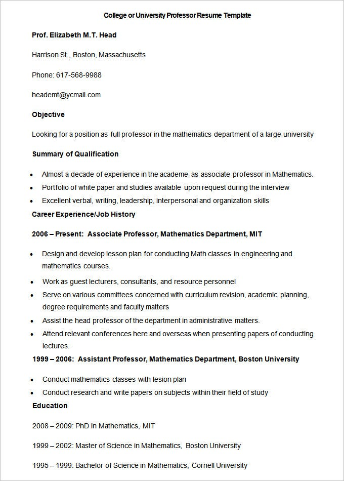 sample college or university professor resume template1