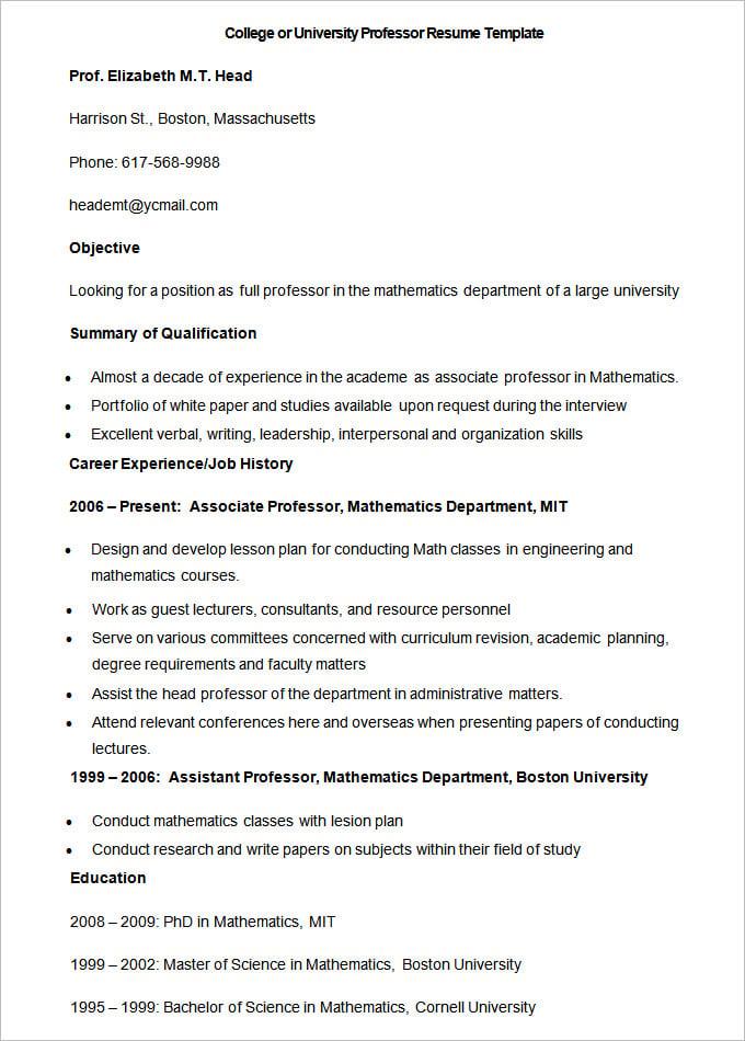 Resume For College Professor Job
