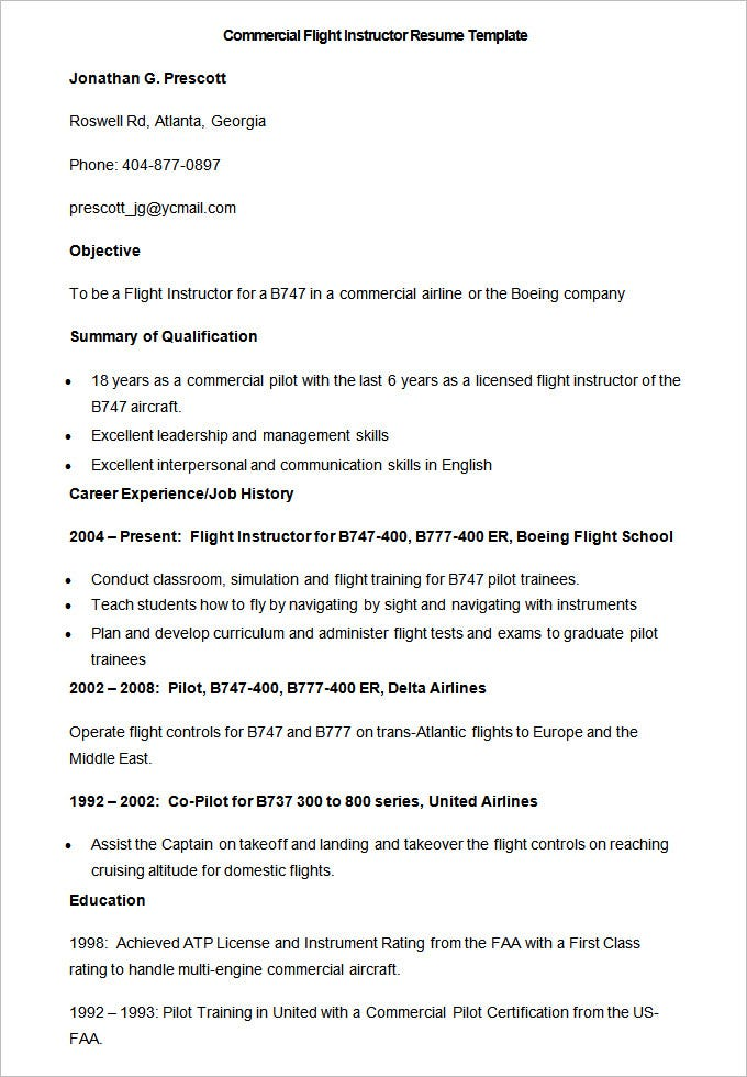 Sample Commercial Flight Instructor Resume Template