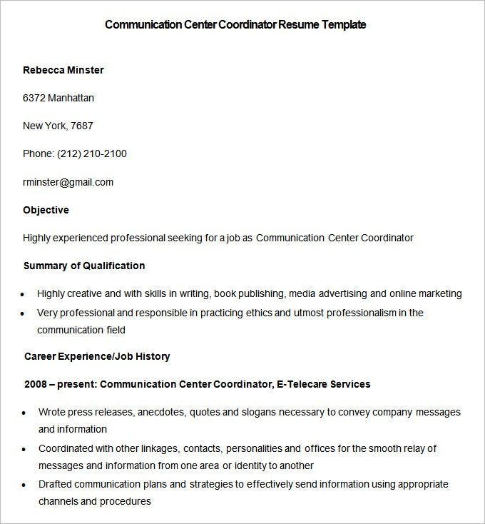 sample communication center coordinator resume template free download