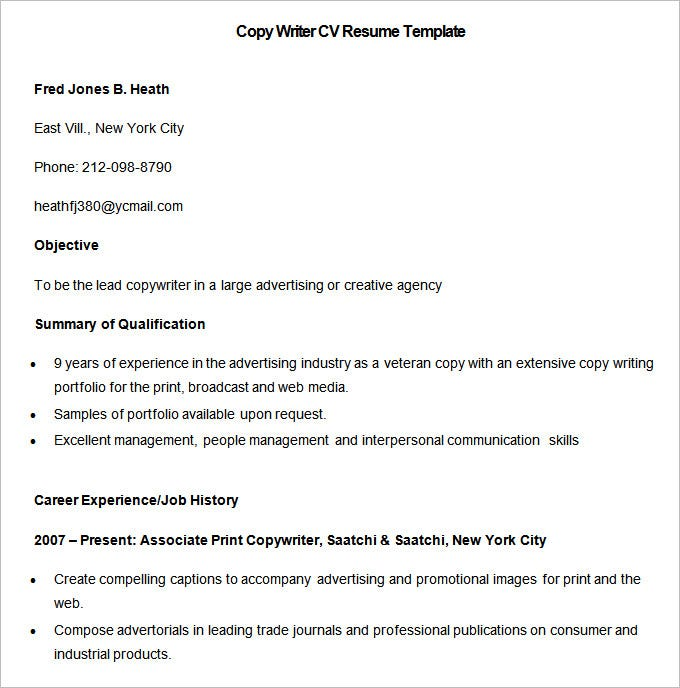 sample copy writer cv resume template free download - Free Resumes To Print
