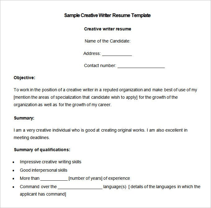 sample creative writer resume template download