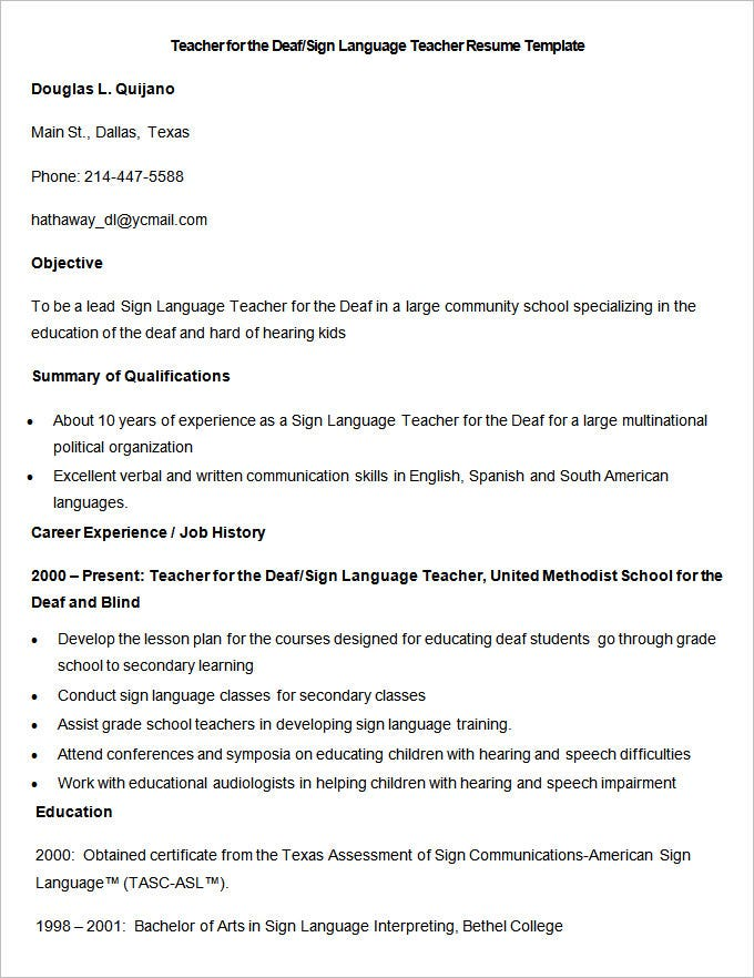 sample deaf sign language teacher resume template - Languages On Resume