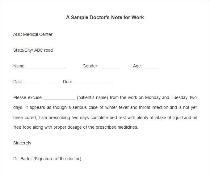 free printable doctors note for work 22 doctors note templates free sample example format 21869 | Sample Doctors Note Template for Work